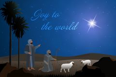 Christmas time - shepherds. The shepherds in the fields with sheeps. Text : Joy to the world Royalty Free Stock Photography