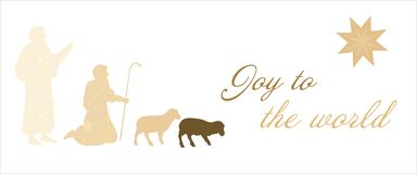 Christmas time - shepherds. The shepherds in the fields with star pattern. Text : Joy to the world Royalty Free Stock Photos