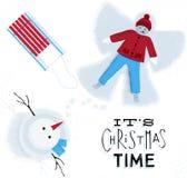 Christmas time snow angel Stock Image
