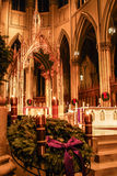 Christmas time at St. Patrick`s Cathedral, NYC. Royalty Free Stock Photo
