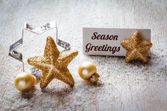 Christmas time, Still life with english wishes, sign, on wood Royalty Free Stock Photo