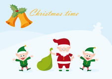 Merry Christmas background. Christmas vector illustration. Christmas card with santa. Holiday background with santa. Holiday background. Christmas card Royalty Free Stock Images