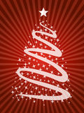 Christmas time tree background. Illustrated stylized christmas tree with stars and beams as background for greeting cards and holiday customizations Royalty Free Stock Photography