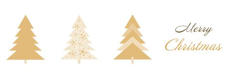 Christmas time - trees and gifts. Christmas card with three trees in golden colors. Text : Merry Christmas royalty free illustration