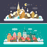 Christmas time. Urban and Village landscapes. Christmas market in the square. Vector flat illustrations Royalty Free Stock Photography