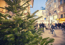 Christmas time in Vienna, people on shopping street Royalty Free Stock Images