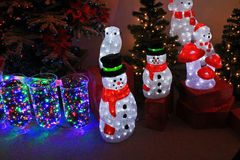 Christmas time. Waiting for christmas with bright snowmen Stock Image