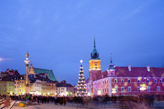 Christmas Time in Warsaw. Christmas Time at the Old Town of Warsaw in Poland, illuminated at evening Stock Photos