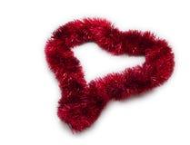 Christmas Tinsel Decoration. Heart Shaped Royalty Free Stock Photo