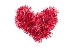Christmas tinsel or garland heart shape Royalty Free Stock Image