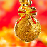 Christmas tinsel golden glitter bauble loop Stock Photo