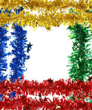 Christmas tinsel with stars as frame. Stock Images