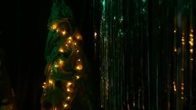 Christmas Tinsel and Christmas Tree. Christmas decorations stock footage