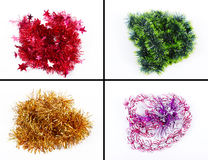Christmas tinsel types collage Royalty Free Stock Image