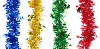 Christmas tinsels with stars. Stock Images