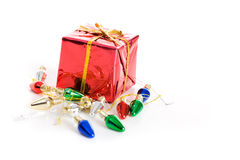 Christmas: Tiny Present And Light Decorations Stock Photo
