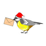A Christmas titmouse with a letter in its beak Stock Photo