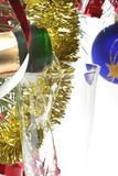 Christmas toast. Champagne in glass Royalty Free Stock Photos