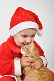 Christmas toddler child plays with a cat Royalty Free Stock Images
