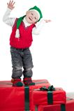 Christmas toddler with presents Royalty Free Stock Images