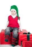 Christmas toddler with presents Royalty Free Stock Photo