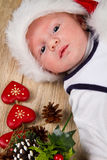 Christmas toddler in Santa hat Stock Photography