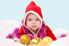 Christmas toddler in Santa hat Royalty Free Stock Photos