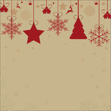 Christmas tools. Christmas red card with tree deer snowflakes Stock Photos