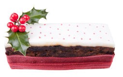 Christmas top iced fruit cake. Traditional christmas top iced fruit cake isolated on white background Stock Images