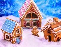 Christmas top view of gingerbread man and house. Royalty Free Stock Photos