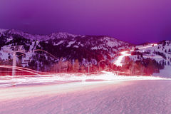 Christmas Torchlight Parade. Every year Jackson Hole Mountain Resort holds a torchlight parade Stock Photo