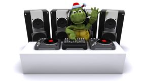 Christmas tortoise DJ mixing records on turntables Stock Photos
