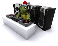 Christmas tortoise DJ mixing records on turntables Stock Photo