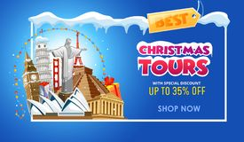 Christmas tours travel promo banner design template. Vector illustration vector illustration