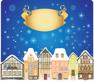 Christmas town. Old town decorated for Christmas Stock Photo