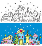 Christmas town. Black&white variation and colored variation Stock Image