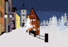 Christmas town. Christmas greeting card with heartwarming view at winter town Stock Images
