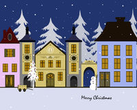 Christmas town. Christmas greeting card with heartwarming winter town Royalty Free Stock Photo
