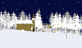 Christmas town. Christmas greeting card with heartwarming winter town in the middle of a snowy wood Stock Photography