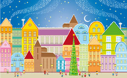 Christmas town. Card with small town in the christmas night