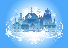 Christmas _town_background. Vector illustration of lovely historical winter town Royalty Free Stock Images