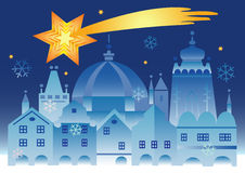 Christmas_town_bethlehem_star. Vector illustration of historical winter town with bethlehem star Stock Photography
