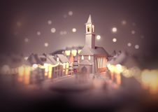 Christmas Town Church. A festive christmas town centre with a church on christmas eve with glowing street lights and decorations. 3D illustration vector illustration