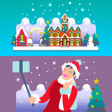 Christmas Town Flat Isometric Royalty Free Stock Image