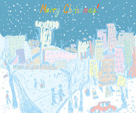 Christmas town greeting card Stock Image