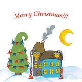 Christmas town. Illustration. 
