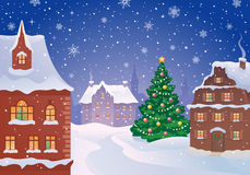 Christmas town. Illustration of a snowy old town at Christmas night Stock Photo
