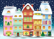 Christmas town illustration. Winter landscape  Stock Photography