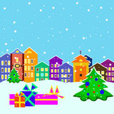 Christmas town with presents and  trees. Vector illustration of town with presents and christmas trees Stock Image