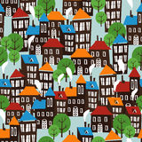 Christmas town seamless cartoon pattern Royalty Free Stock Photo